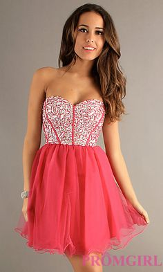 Sequin Party Dress with Lace Up Back at PromGirl.com
