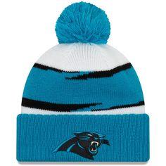 fefc93e5be7 Men s Carolina Panthers New Era White Blue Thanksgiving Cuffed Pom Knit Hat