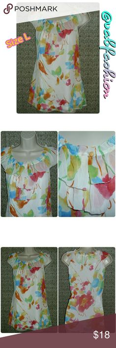 """SLEEVELESS RUFFLE TOP! Super cute sleeveless double layer ruffle top by Spense! White with multicolor Flowers on the mesh shell. Solid white lining!! Shell is 100% polyester lining is 95% nylon and 5% spandex! Loose fitting top! Bust is 40"""" length is 25"""" Spense Tops Blouses"""