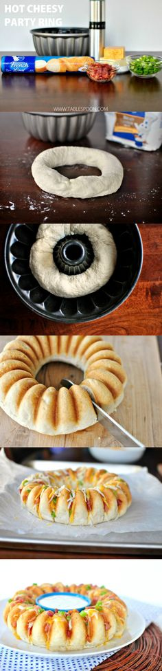 Food recipe But Make with homemade bread dough or natural dough like Immaculate Bakery - Hot Cheesy Party Ring - Go to Source - I Love Food, Good Food, Yummy Food, Tasty, Appetizers For Party, Appetizer Recipes, Football Food, Food To Make, Food Porn