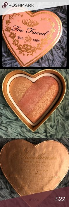 Too Faced Blush TOO FACED Sweetheart Perfect Flush Blush.gently Used One TimeTry.NWOB Too Faced Makeup Blush