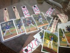 I took action photos of the boys.  I turned them into bag tags.  They loved them.  Great team mom or baseball mom idea.  Just laminate them, get ribbon from Hobby Lobby and use the Kam Snap press for the buttons.
