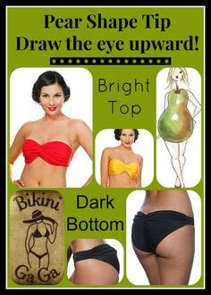 #Pear Shaped Body Type Swimsuit Tips: #Bandeau with molded cups & Knotty Bottom roomy for a booty!