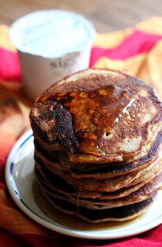 Richly spiced, fluffy gingerbread yogurt pancakes to fill your morning with the holiday spirit.