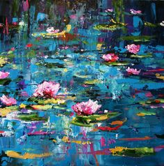 I adore Julie's work! Her use of color is stunning...Waterlillies by Julie Dumbarton