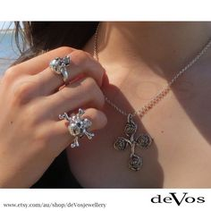 """Small Sterling Silver skull ring and """"Jolly Roger"""" ring. Ideal rings for ladies or for men's pinky finger. @devosjewellery"""