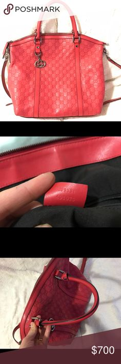 """Authentic Gucci signature bad A large top handle bag with a softly structured shape. Made in heat debossed soft Gucci Signature leather with a defined print and firm texture-an update to the classic Gucci Signature leather with a softer construction. Red soft Gucci Signature leather with red leather details Silver toned hardware Metal feet Magnetic gusset Interior zip and smartphone pockets Double handles with 15"""" drop Detachable and adjustable shoulder strap with 22"""" drop Large size: 15""""W x…"""
