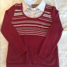 Woman's shirt sweater. 💲⬇️ Croft & Barrow petite small, 1pc shirt sweater. Has sparkly silver thread going horizontally as seen in 3rd & 4th pic.  Looks great with jeans. Necklaces not included. Croft and barrow Sweaters