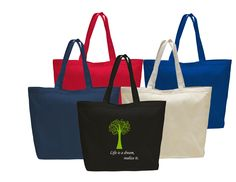 """Heavy Cotton Tote Bag with Velcro Closure. Solid colored bag with cotton handles. Size 23""""W x 17""""H x 6""""Gusset #totes #cottontotes"""