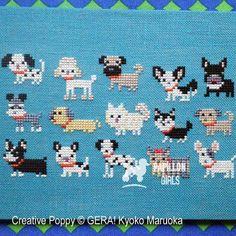15 Dog breeds cross stitch pattern by Gera! by Kyoko Maruoka Gera! by Kyoko Maruoka – 15 Dog breeds zoom 3 (cross stitch chart) Cross Stitch Family, Mini Cross Stitch, Cross Stitch Animals, Cross Stitching, Cross Stitch Embroidery, Embroidery Patterns, Hand Embroidery, Cross Stitch Designs, Cross Stitch Patterns