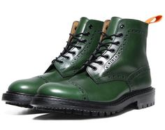 Handmade men green leather boots, climber military style wingtip boots, brogue sold by Bishoo. Best Shoes For Men, Men S Shoes, Comme Des Garcons Men, Green Boots, Spring Boots, Cool Boots, Dress With Boots, Brogues, Leather Heels