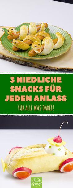 3 niedliche Snacks für jeden Anlass #rezepte #snacks #kindergeburtstag #hotdog #würstchen #käse #gemüse