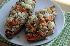 Sweet potato skins stuffed with quinoa and rice. Healthy and vegetarian.
