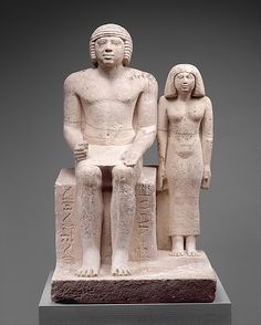 Statue of Demedji and Hennutsen Period: Old Kingdom Dynasty: Dynasty 5 Reign: reign of Neferirkare or earlier Date: ca. 2465–2438 B.C. Geography: Country of Origin Egypt, Memphite Region, el-Giza or Saqqara Medium: Limestone, paint