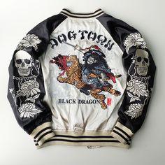 Japanese Street Tokyo Harajuku Fashion DOGTOWN Bigbang Thug Punk Swag Rock Samurai Warrior Musha Sword Black Dragon Ryu Souvenir Sukajan Jacket (Size: M) - Japan Lover Me Store