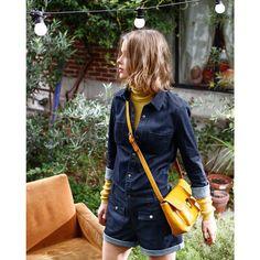 Combi-short en jean MADEMOISELLE R Mademoiselle R, Red Leather, Leather Jacket, Bomber Jacket, Jackets, Satchel, Image, Fashion, Dungarees