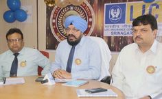 Sr Divisional Manager of LIC TS Bali addressing press conference in Jammu.       Excelsior/Rakesh