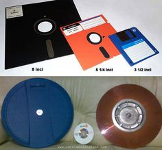 Pada Gambar bagian atas adalah Disket yang mungkin masih pernah anda lihat. Gabar bagian bawah warna biru adalah tempat Disket Wang kapsitas 228 Mb dan CD-R Kapasitas 700 Mb.