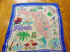 Vintage Florida souvenir scarf - pink & Blue with flamingo hibiscus and palm trees Vintage Scarves By Study Photos, Vintage Closet, Vintage Florida, Vintage Scarf, Hibiscus, Palm Trees, Pink Blue, Vintage Ladies, 1950s