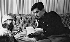 reading a book - alain delon & romy schneider Alain Delon, Romy Schneider, Cute Relationships, Relationship Goals, People Reading, People Sitting, Foto Portrait, Photo Star, The Love Club
