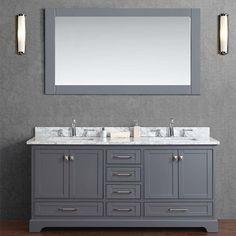 "Stufurhome 72"" Newport Grey Double Sink Bathroom Vanity with Mirror - HD-7130G-72-CR"