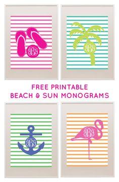 Free Printable Beach Themed Monograms from printablemonogram.com #freeprintable