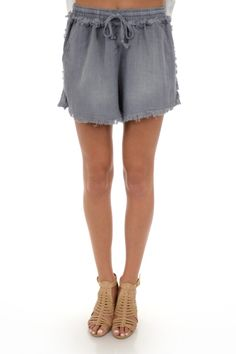 Pull on Frayed Shorts, Grey :: NEW ARRIVALS :: The Blue Door Boutique