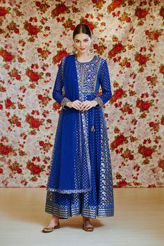 Shyam Narayan Prasad | Purple Anarkali Set | INDIASPOPUP.COM Indian Fashion Designers, Beauty Full Girl, Party Wear Indian Dresses, Indian Ethnic, Blue Fabric, Fashion Sketches, Anarkali, Dream Dress, Royal Blue