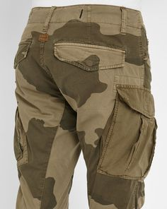 Camouflage Beige Rovic Zip 3D Tapered Multi-Pocket Trousers G-STAR men Dress Pants Beige men