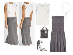 """""""SS DN METALLIC KNIT SKIRT, KNIT TOP, SANDALS - WHITE, PEWTER"""" by laliquemurano on Polyvore featuring Staurino Fratelli, Missoni, 3.1 Phillip Lim, Mark Cross and Stuart Weitzman"""