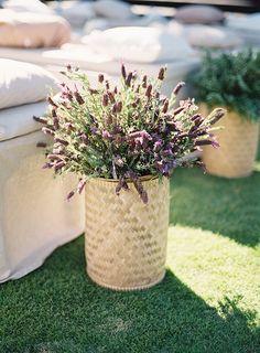 Baskets full of lavender lined this ceremony in Bali.  Beth Helmstetter + Steve Steinhardt.