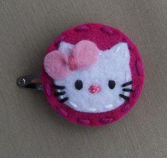 Hello Kitty Magenta Wool Felt Snap Hair Clip  by BerryCoolDesigns