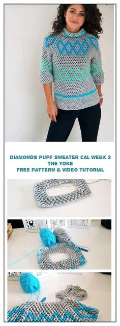 Diamonds Puff Sweater CAL Week 2 ByKaterina Diamonds Puff Sweater CAL Week 2 In this week we will make the yoke. Crochet Patterns For Beginners, Easy Crochet Patterns, Crochet Designs, Free Crochet, Knitting Patterns, Knit Crochet, Crochet Cardigan Pattern, Crochet Blouse, Top Pattern