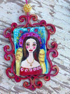 Angel Ornament Folk Art Hand Painted on Etsy, $22.00