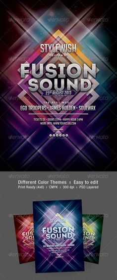 """Fusion Sound Flyer  #GraphicRiver           Fusion Sound Flyer  The PSD file is very well organized in folders and layers. You can modify everything very easy and quick. Changing the color style, pictures and the typo is no problem. The main folders that will require most customization are highlighted in different colors.  PRINT READY : 1275px x 1875px (4×6"""" with .25"""" bleeds), CMYK , 300DPI, .PSD layered  The free fonts used in the design are:     Big Noodle Titling          Socialicio…"""