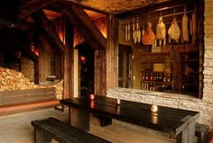 Cellar and charcuterie room with a place to dine