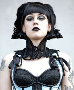 Dramatic Victorian Steampunk Gothic Vampire black lace neck corset Could also be steampunk malefasent!