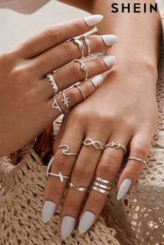 Skinny Ring Pack Composition: Alloy Color: Silver Style: Casual Metal Color: Silver Stone Type: No Stone Hand Jewelry, Cute Jewelry, Jewelry Accessories, Body Jewelry, Women Jewelry, Ropa Interior Calvin, Skinny Rings, Accesorios Casual, Best Acrylic Nails