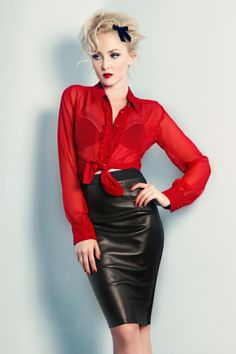 Envisage modern royalty in this perfect sheer shirt. Sophisticated red silk georgette ruffles at centre front are perfectly paired with the Le Chic Pencil Skirt