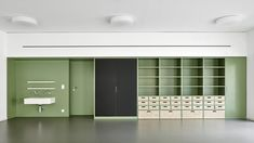 Fuente: Karamuk KuoFotografía: José HeviaFour Kindergarten units, each with their own set of workrooms and coatroom, are brought together in one building at the end of an existing elementary Cute Furniture, Learning Environments, Playroom, Locker Storage, Table, Cabinet, Architecture, Wood, Design