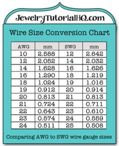 Jewelry wire wire gauge size conversion chart - comparing AWG (american wire gauge) to SWG (British Standard Wire Gauge). Different parts of the world use different gauge measuring systems - good to know! Wire Jewelry Making, Jewelry Tools, Wire Wrapped Jewelry, Jewellery Making, Metal Jewelry, Jewelry Ideas, Dread Jewelry, Geek Jewelry, Diy Jewellery