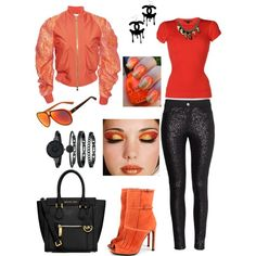 orange passion outfit by sophia-housley on Polyvore featuring polyvore fashion style Ralph Lauren Black Label Antonio Berardi Gucci MICHAEL Michael Kors Anne Klein Chanel Lacoste