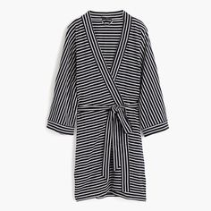 Knit cotton robe in stripe