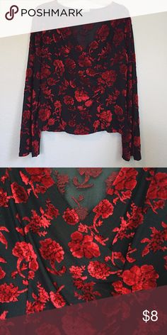 NEW Women's Sexy Romantic Red Roses Long Sleeve New! Women's size XL. Made of 50% polyester, 44% rayon, & 6% spandex. Made of 64% nylon & 36% rayon. Next day shipping! Free gift with every purchase. Bundle and save $$$! Offers always welcome. Feel free to ask any questions. 🌹 Tags: fashion, designer, flattering, discount, sale, aeropostale, gilly hicks, cute, sexy, rare, 90s, Top, vintage, pretty, girly, sweet, winter, holidays, flowers, deep v, plus, Fashion Bug Tops Tees - Long Sleeve