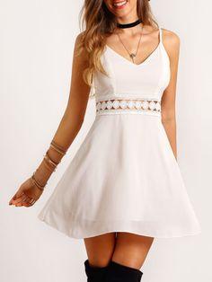 Vestido tirante fino encaje -blanco