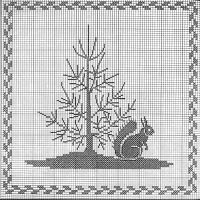 Squirrel & Tree Cross Stitch Pattern