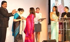 TimesofMoney President Avijit Nanda applauds as actor Shabana Azmi felicitates Her Excellency  Meera Shankar, Indian Ambassador to the U.S.