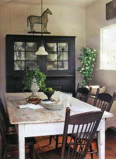 Country Farmhouse dining room (pinned from Ironstone and Pine)