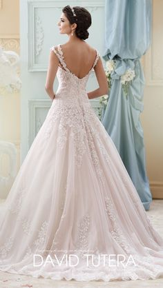 Back of dress #14  Style No.   › 215277 - Arwen Description   ›  Sleeveless tulle, organza and hand-beaded embroidered lace ball gown with double lace shoulder straps, sweetheart neckline, drop waist, chapel length train.  Sizes: 0 – 20