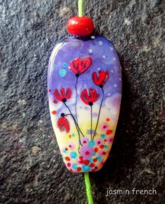 jasmin french  ' poppies '  lampwork focal bead by jasminfrench